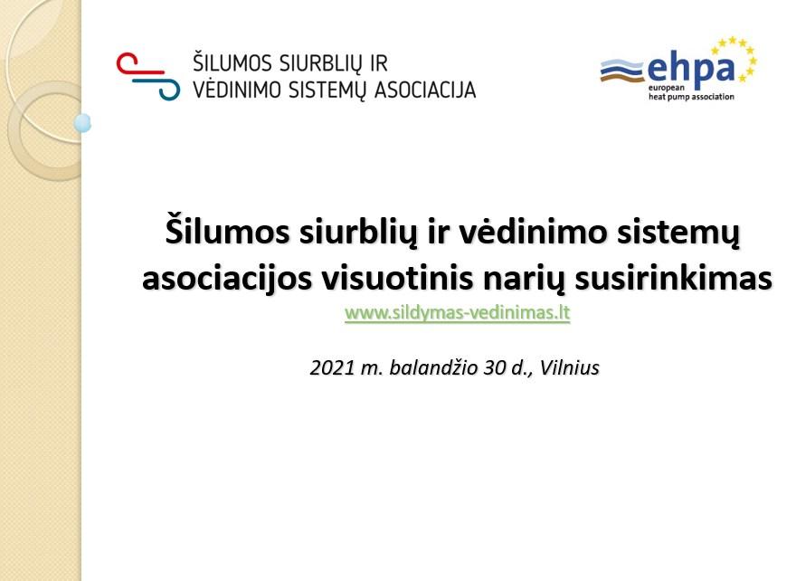 Vilniuje įvyko Šilumos siurblių ir vėdinimo sistemų asociacijos visuotinis narių susirinkimas