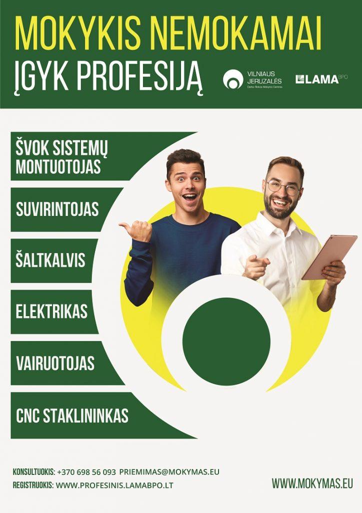 plakatas 724x1024 Valstybės finansuojami mokymai Vilniaus Jeruzalės darbo rinkos mokymo centre